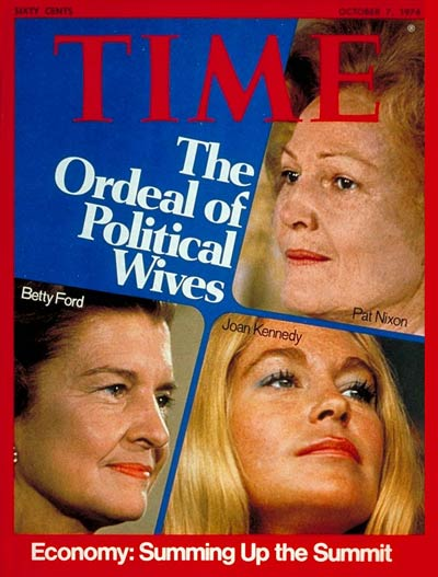 Clockwise fr. top R: Pat Nixon, Joan Kennedy and Betty Ford