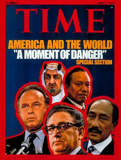 Clockwise fr. top: Faisal, Thieu, Sadat, Kissinger, Rabin.
