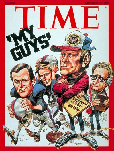 Donald Rumsfeld, George Bush, Gerald Ford and Henry Kissinger.