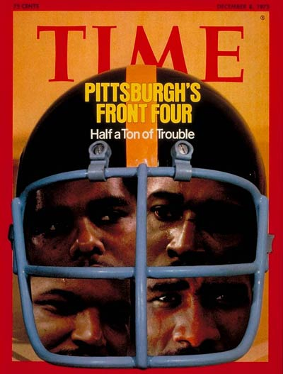 The Pittsburgh Steelers.  On cover: (L-R) L.C. Greenwood, Dwight White, Ernie Holmes and Joe Greene