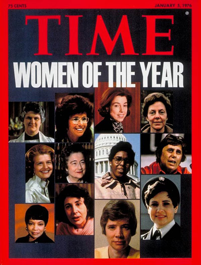 Alison Cheek, Billie Jean King, Carla Hills, J.K. Conway, Betty Ford, Susie Sharp, Barbara Jordan, Ella Grasso, Addie Wyatt, Susan Brownmiller, Carol Sutton, Lt. Kathleen Byerly