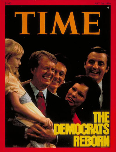 Democratic candidates Jimmy Carter (holding daughter Amy) & Walter Mondale with family members after acceptance speeches at the Democratic National convention