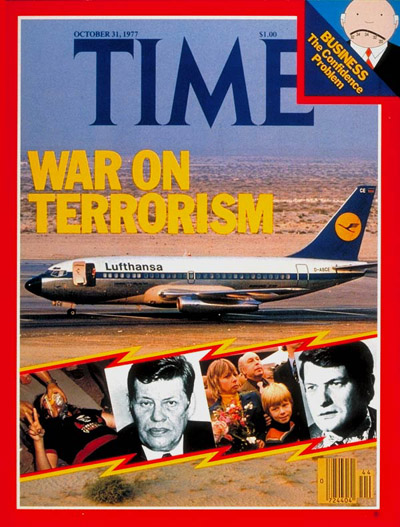 Highjacked Lufthansa Flight 181 at Dubai airport Inset:s (L-R): woman terrorist by Catherine LeRoy; Hanns-Martin Schleyer by Melloul-Sygma; returned hostages by Alain Keler-Sygma; Jurgen Schumann by AP.