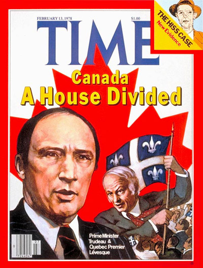 Canadian PM Pierre Trudeau and Quebec PM Rene Levesque