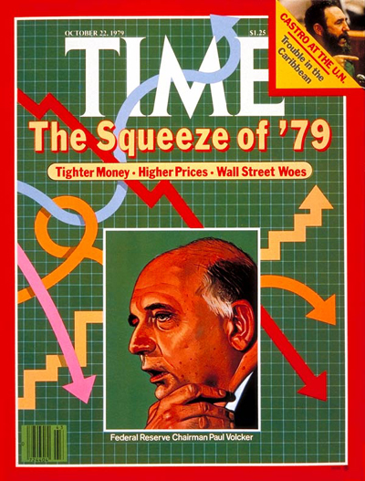 The Squeeze  '79'   Federal Reserve Chairman Paul Volcker. Inset:, Fidel Castro at the UN, from Abbas-Gamma Liaison.
