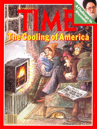 Click for larger image - December 1979 Time cover w/family huddled around fire in TV