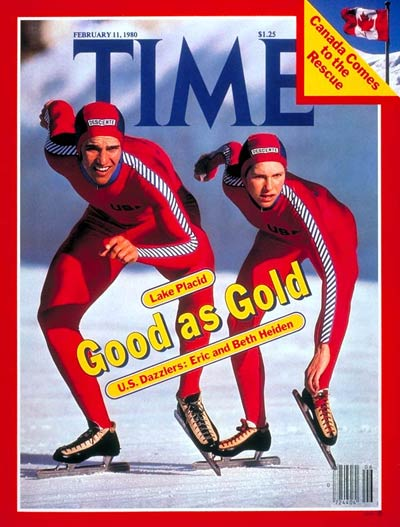 U.S. Olympic speed skaters Eric and Beth Heiden. Inset: Canadian flag