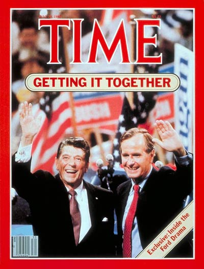 Ronald Reagan and George H.W. Bush at the Republican National Convention.