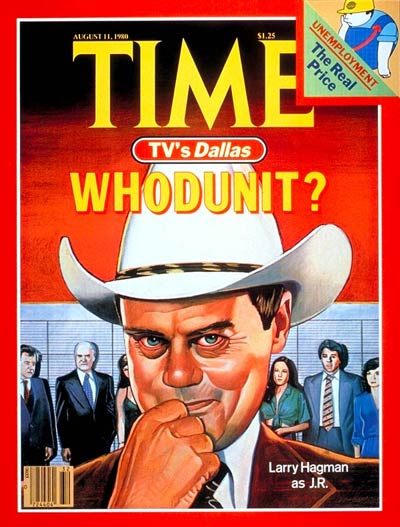 Larry Hagman as J.R.  In the TV series 'Dallas'