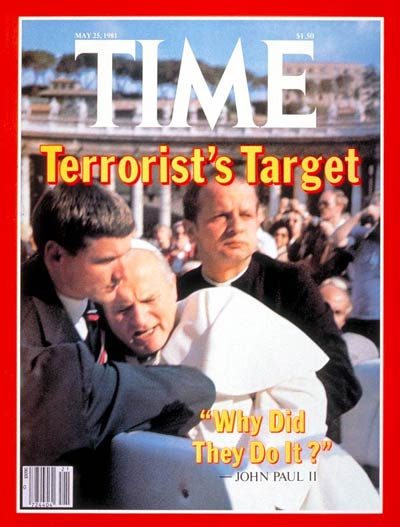 Aides hold Pope John Paul II after an assassination attempt, from FOTAM.