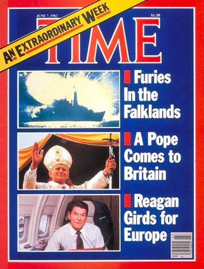 The Falkland Islands conflict, Pope John Paul II and President Ronald Reagan. Martin Cleaver-Press Association; Francois Lochon-Gamma/Liaison; David Hume Kennerly