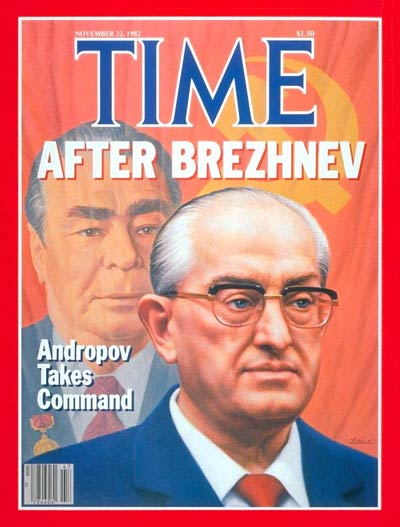 Yuri Andropov.  In background Leonid Brezhnev.