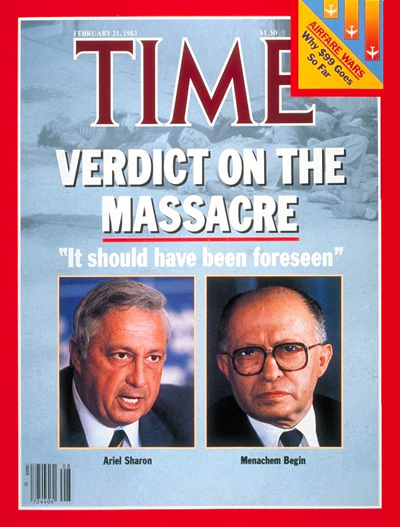 TIME Magazine Cover: Israel's Sharon and Begin -- Feb. 21, 1983