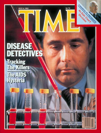 AIDS researcher at the Centers for Disease working to find a cure. Inset: Supreme Court Justice Warren E. Burger by David Hume Kennerly