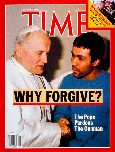 Pope John Paul II pardoning gunman Mehmet Ali Agca, who tried to assassinate him, from L'Osservatore Romano.