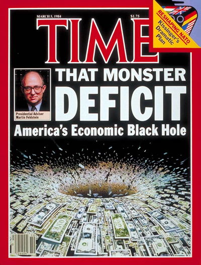 That Monster Deficit, America's Economic Black Hole' with presidential adviser Martin Feldstein. Photo Illustration by Wayne McLoughlin.