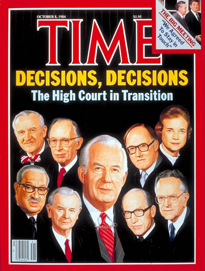 U.S. Supreme Court (clockwise fr. top L): Justices John P. Stevens, Lewis Powell, William H. Rehnquist, Sandra Day O'Connor, Harry Blackmun, Byron White, William J. Brennan, Thurgood Marshall,  and center Justice Warren Burger. Inset: Andrei Gromyko.
