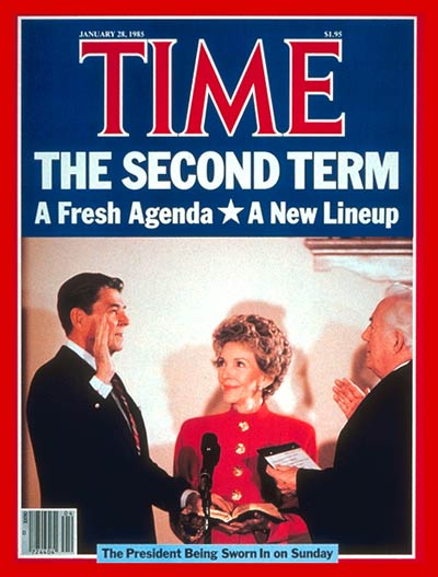 President Ronald Reagan being sworn for second term in office as wife Nancy looks on.  On cover: fr. L-R: Ronald Reagan, Nancy Reagan and Chief Justice Burger