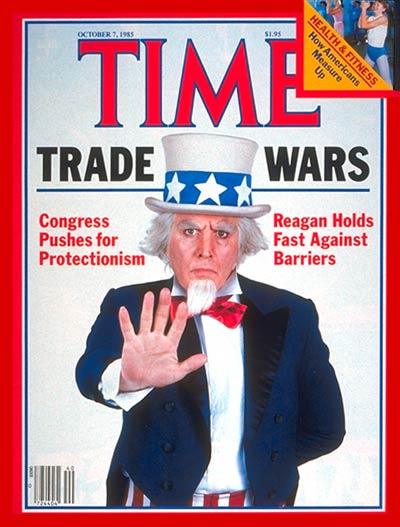 TIME Magazine Cover: Trade Wars: Congress vs. Ronald Reagan -- Oct. 7, 1985