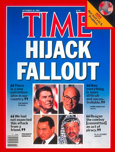 The Hijack Fallout.  On cover: clockwise fr. top L: Reagan, Craxi, Arafat and Mubarak