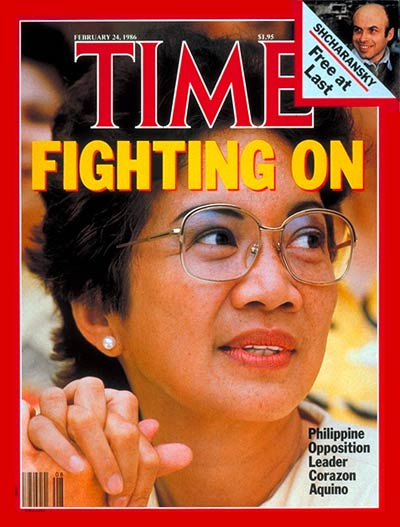Philippine Opposition leader Corazon Aquino. Inset:, Soviet dissident Anatoly Shcharansky by David Rubinger.