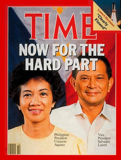 TIME Magazine Cover: Corazon Aquino & Salvador Laurel -- Mar. 10, 1986