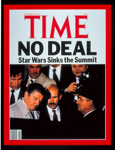 U.S. president Ronald Reagan and Russian leader Mikhail Gorbachev leaving unsuccessful arms summit meeting.