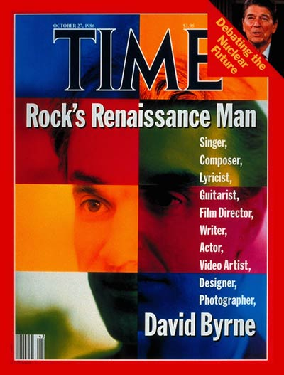 Rock's Renaissance Man', self-portrait by David Byrne. Inset: Ronald Reagan