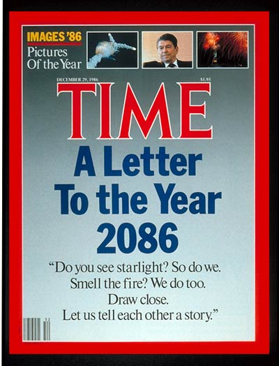 TIME Magazine Cover: Letter to the Year 2086 -- Dec. 29, 1986