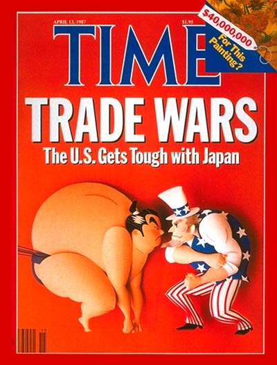 TIME Magazine Cover: U.S. and Japan Face Off -- Apr. 13, 1987