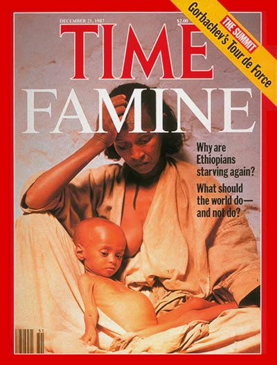 Starving baby & mother depicts the famine in Ethiopia