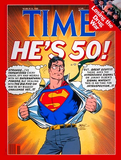 TIME Magazine Cover: Superman at 50 -- Mar. 14, 1988