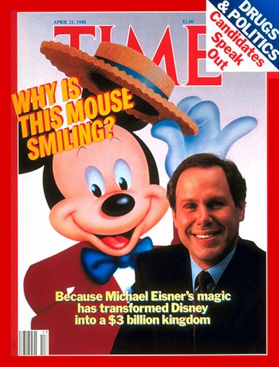 TIME Magazine Cover: Michael Eisner & Mickey Mouse -- Apr. 25, 1988