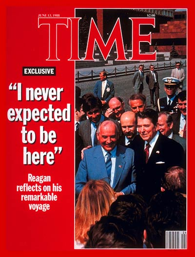 TIME Magazine Cover: Mikhail Gorbachev &amp; Ronald Reagan -- June 13, 1988