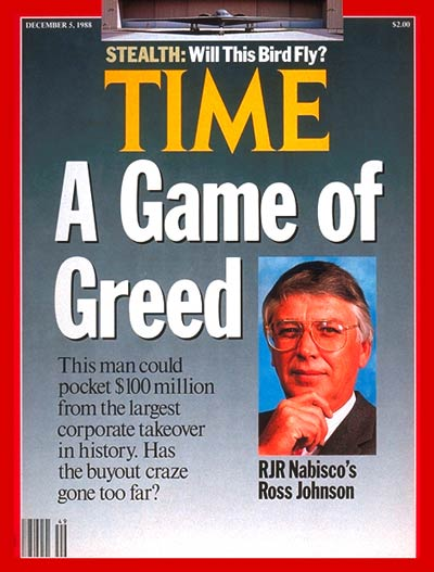 TIME Magazine Cover: Ross Johnson -- Dec. 5, 1988