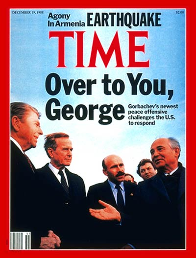 TIME Magazine Cover: Ronald Reagan, George Bush & Mikhail Gorbachev -- Dec. 19, 1988