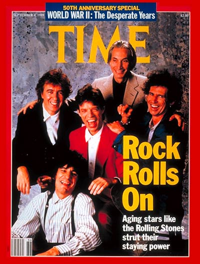 Clockwise from bottom left: Ron Wood, B. Wyman, Charlie Watts, Keith Richards and Mick Jagger