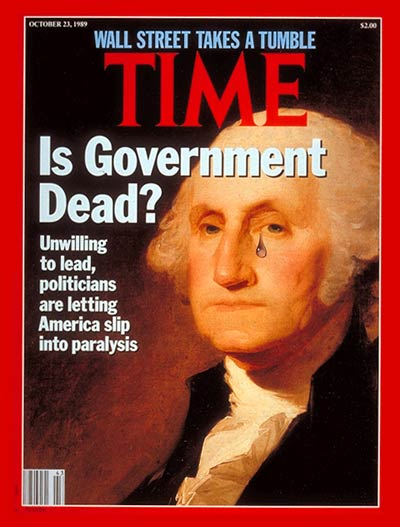 Is Government Dead? Portrait of George Washington from Scala/Art Resource, NY; teardrop from Tim O'Brien