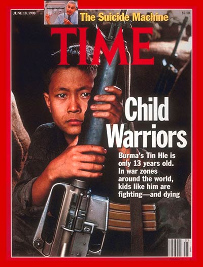 Burma's Tin Hle is only 13 years old.  In war zones around the world, kids like him are fighting -- and dying.  Inset: Jack Kevorkian