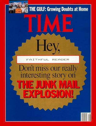 TIME Magazine Cover: The Junk Mail Explosion -- Nov. 26, 1990