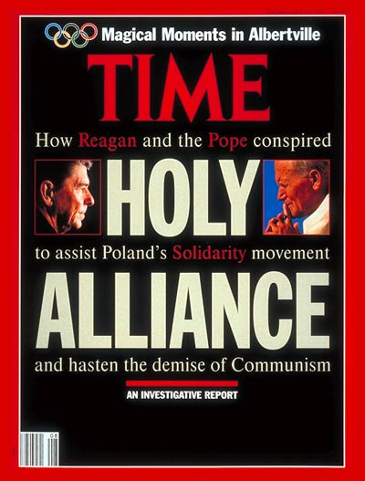 TIME Magazine Cover: Ronald Reagan &amp; Pope John Paul II -- Feb. 24, 1992