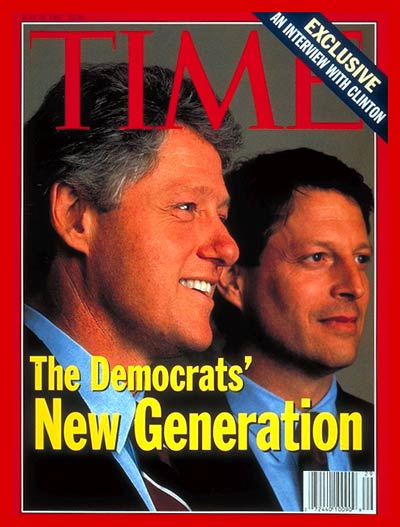 Democratic Presidential Candidate Bill Clinton and running mate, Al Gore