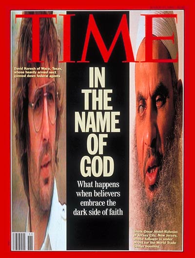 In the Name of God.'  Computer-altered images: David Koresh from Nine Network Australia; Sheik Omar Abdel-Rahman for TIME by Christopher Morris-Black Star.