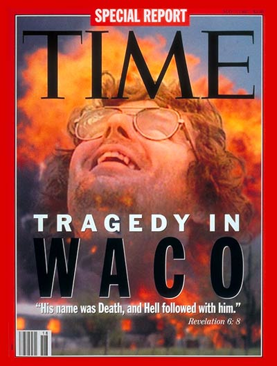 The Siege at Waco. Photomontage: Explosion of Waco compound for TIME by Shelly Katz-Black Star; David Koresh from Nine Network Australia.