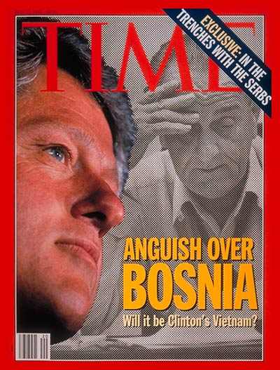Anguish Over Bosnia. Photomontage: Clinton by Steve Liss for TIME; Johnson from UPI