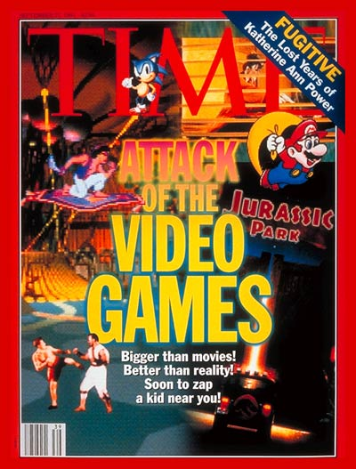 Star Trek:The Next Generation, 3DO Interactive Multiplayer; Sonic the Hedgehog/Sega  America; Voyeur/Phillips CD; Super Mario/Nintendo  America; Jurassic Park Interactive from MCA for 3DO ; Acclaim's Mortal Kombat, Super NES; Disney's Aladdin:Sega Genesis, Disney characters: The Walt Disney Co.