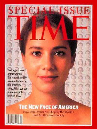 Special Issue on Immigrants: The New Face of America.  Computer Morphing by Kin Wah Lam; Design by Walter Bernard and Milton Glaser. Morphed face  is 15% Anglo-Saxon, 17.5% Middle Eastern, 17.5% African, 7.5% Asian, 35% Southern European and 7.5% Hispanic.