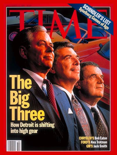 The Big Three.  On cover: (L-R) Chrysler's Bob Eaton, Ford's Alex Trotman and GM's Jack Smith.