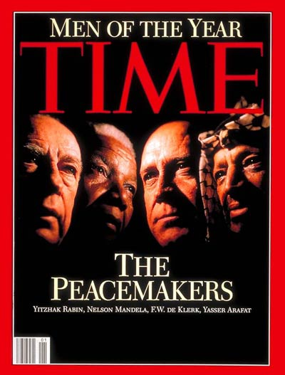 The Peacemakers'  Yitzhak Rabin, Nelson Mandela, F.W. DeKlerk and Yasser Arafat.