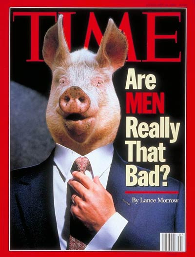Are Men Really That Bad?  Pig by Hans Reinhard-Okapia/Photo Researchers; Body by Dennis Chalkin.